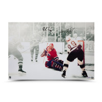 "WAYNE GRETZKY & PATRICK ROY Autographed ""1993 Stanley Cup, GameE 4"" 24 x 16 Photo UDA"