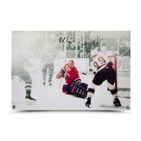 "WAYNE GRETZKY & PATRICK ROY Autographed ""1993 Stanley Cup, GameE 4"" 24 x 16 Photo UDA"