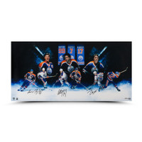 "WAYNE GRETZKY, PAUL COFFEY and JARI KURRI Autographed ""Oilers""® Greats"" 36 x 18 Photo UDA"