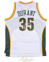 "KEVIN DURANT Autographed ""08 ROY"" White Supersonics Jersey PANINI LE 135"