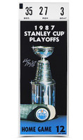 """WAYNE GRETZKY Signed 12"""" x 32"""" 87 Stanley Cup Finals Mega Ticket UDA"""