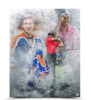WAYNE GRETZKY & TIGER WOODS Dual Signed Rarefied Air Print.