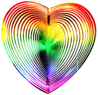 WIND TWISTER DECORATION HEART Shaped Rainbow Colors  Garden Décor Outdoors bcg