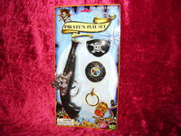 PIRATES PLAY SET Pistol Compass Patch Earring Coins r