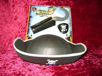 PIRATE HAT PLAY SET HOOK EYE PATCH Pirates Costume Accessories Halloween New r