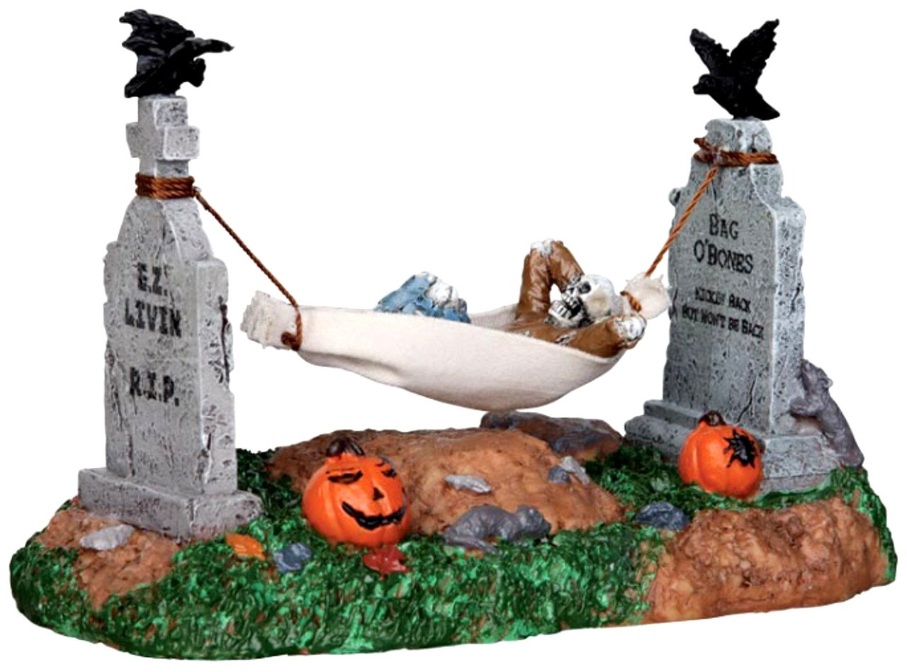 Lemax 24461 bag o 39 bones spooky town animated table accent for Bag of bones halloween decoration