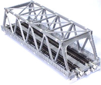"Kato 20437 N UNITRACK DOUBLE TRUSS BRIDGE 9 3/4"" SILVER Train bcg"