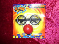 GAG GLASSES Red Clown Nose DORKY LENSES Funny Joke Geeky New z