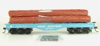 Bachmann HO FLAT CAR 50' LOG LOAD GREAT NORTHERN GN GREEN Train New z
