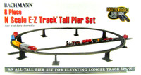 Bachmann 44872 N E-Z TRACK 8 PIECE TALL PIER SET Train Piers EZ bcg