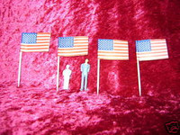 AMERICAN FLAGS 4 S O Scale Model Train Accessories Scenery New z