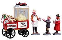 Lemax 02832 POPCORN SELLER Figurine Set of 4 Christmas Village Figures O G bcg