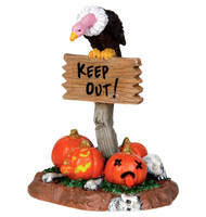 Lemax 24475 KEEP OUT! SPOOKY TOWN Halloween Decor Accessory Sign Vulture bcg