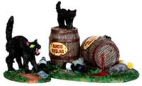 Lemax 34611 WINE BARRELS Spooky Town Accessories Halloween Decor Black Cats bcg