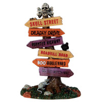 Lemax 64054 SCARY ROAD SIGNS Spooky Town Accessories Halloween Decor G Scale Sign Post bcg