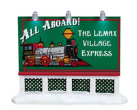 Lemax 64497 TRAIN BILLBOARD Christmas Village Retired Lighted Accessory S O Scale bcg