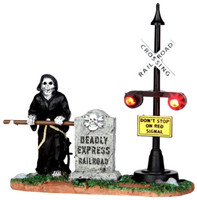 Lemax 44746 GRIM RAILWAY SWITCHMAN Spooky Town Lighted Accessory Halloween O G Scale bcg