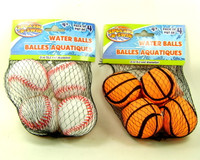 WATER BALLS BASEBALL & BASKETBALL (8) Pool Toys Summer Fun Beach Splash-n-Swim  bcg