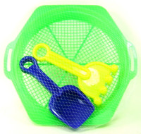 SAND TOYS SIFTER SHOVEL RAKE Set Of 3 Beach Sandbox Summer Fun Outdoors Sieve bcg