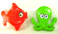 FISH & OCTOPUS SAND MOLD SET of 2 Beach Toys Sandbox Summer Fun Outdoor bcg