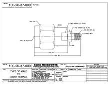 100-20-37-000:  N MALE TO 3.5mm FEMALE (BETWEEN-SERIES ADAPTER)