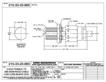 215-33-20-860:  2.4mm FEMALE TO .085 SEMI-RIGID CABLE, LOW LOSS, BULKHEAD (SOLDER CLAMP)