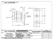 310-10-09-000:  1.00mm MALE, ACCEPTS .009 DIA. DIA PIN, 2 HOLE FLANGE