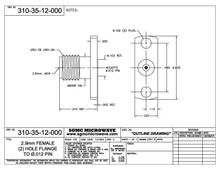 """310-35-12-000:  2.92mm FEMALE (2) HOLE FLANGE RECEPTACLE (ACCEPTS .012"""" DIA PIN)"""
