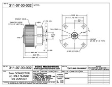 311-07-00-000:  7mm CONNECTOR (4) HOLE FLANGE, W/O CONTACT