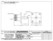311-21-00-000:  N FEMALE (4) HOLE FLANGE RECEPTACLE (18 GHz)