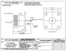 311-21-50-002:  N FEMALE (4) HOLE FLANGE RECEPTACLE, NON-CAPTIVATED (PASSIVATED) SPECIAL