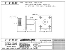 311-21-85-001:  N FEMALE (4) HOLE FLANGE RECEPTACLE, NON-CAPTIVATED (NICKEL PLATED)