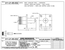 311-21-85-002:  N FEMALE (4) HOLE FLANGE RECEPTACLE, NON-CAPTIVATED (PASSIVATED)