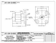 """311-34-12-000:  2.92mm MALE (4) HOLE FLANGE RECEPTACLE (ACCEPTS .012"""" DIA PIN)"""
