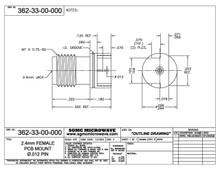 "362-33-00-000:  2.4mm FEMALE PCB EDGE MOUNT / .012"" DIA PIN (.062"" BOARD THICKNESS)"