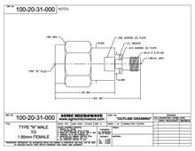 100-20-31-000:  N MALE TO 1.85mm FEMALE (BETWEEN-SERIES ADAPTER)