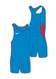 New! Men's Weightlifting Singlet - Blue / Scarlet
