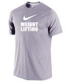 Men's Dri-Fit Cotton Weightlifting Tee - Grey / White