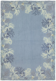 Sea Star Blue Hooked Beach Cottage Rug