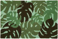 Green Tropical Leaves Small Accent Rug