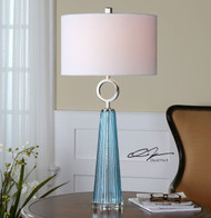 Navier Aqua Blue Glass Table Lamp