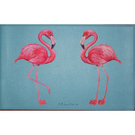 Two Flamingos Blue Floor Mat