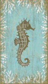 Aqua Seahorse Wall Art - Facing Right