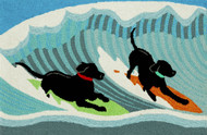 Surfing Puppy Dogs Door Mat