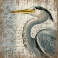 Heron Beach Wall Art - Blue