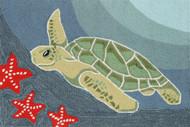 Swimming Sea Turtle Area Rug