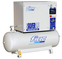 FIAC Silver 5.5/300 Rotary Screw Air Compressor, 5.5 hp, 19.7 CFM, 80 Gallon Tank Mounted, 208/240/3/60