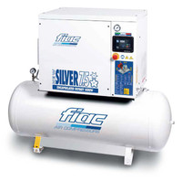 FIAC Silver 7.5/300 Rotary Screw Air Compressor, 7.5 hp, 28.9 CFM, 80 Gallon Tank Mounted, 208/240/3/60