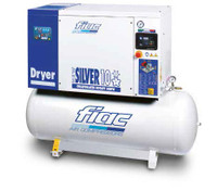 FIAC Silver 10/300 Rotary Screw Air Compressor, 10 hp, 33 CFM, 80 Gallon Tank Mounted, 208/240/460