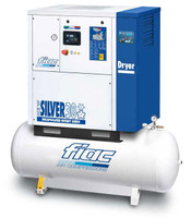 FIAC Silver 30/500 Rotary Screw Air Compressor, 30 hp, 116 CFM, 130 Gallon Tank Mounted, 208/240/460